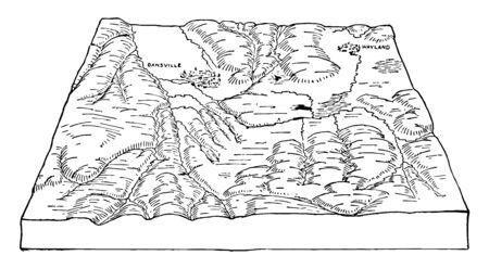 Wayland Valleys NewYork  vintage line drawing.