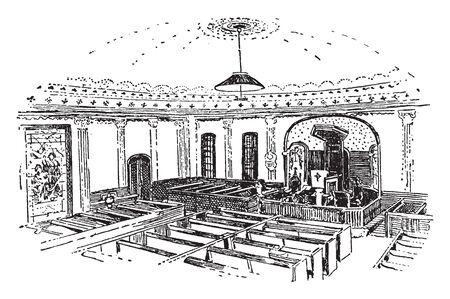 St. Johns Episcopal Church of Richmond,virginia,vintage line drawing or engraving illustration. Çizim