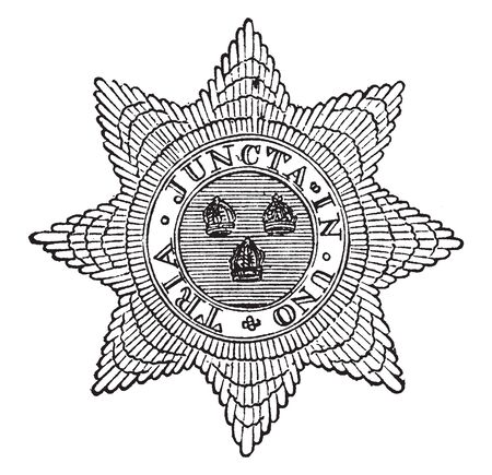 Star of Bath is a British order of chivalry founded by George I on 18 May 1725, vintage line drawing or engraving illustration.