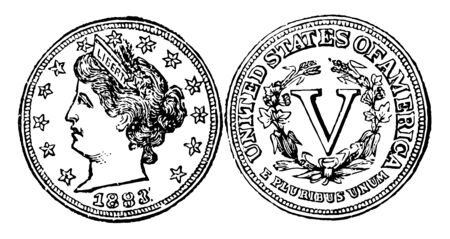 A picture is showing Copper-Nickel Five Cent Coin, 1883. Obverse shows a left-facing image of lady with wearing crown on head. Reverse shows a V word in center with surrounded branches, vintage line drawing or engraving illustration.