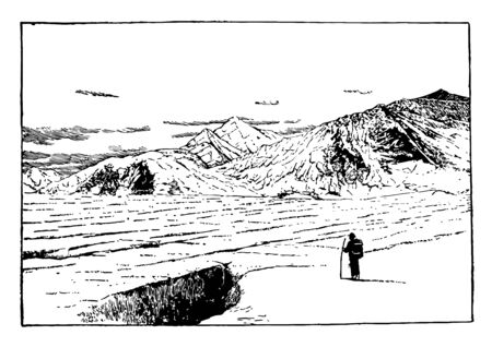 These are the glaciers present near the seward in Alaska vintage line drawing. Ilustrace