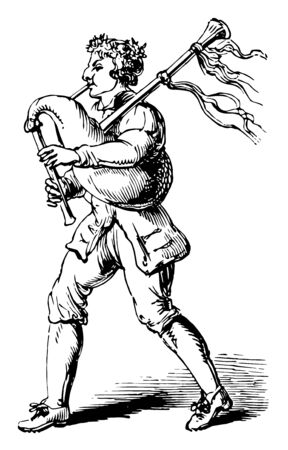 Bagpipe which receives air from the mouth or from the bellows, vintage line drawing or engraving illustration.