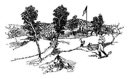 sutter mill est une scierie où l'or a été extrait appartenant au dessin au trait vintage de John sutter. Vecteurs