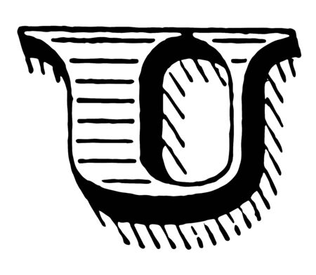 A picture of a decorative letter U with shaded initial, vintage line drawing or engraving illustration.