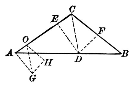 An image showing a triangle with segments, vintage line drawing or engraving illustration.
