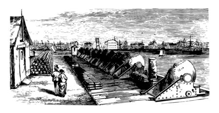 Mortar Battery located at the Brooklyn Navy Yard, vintage line drawing or engraving illustration. Ilustração