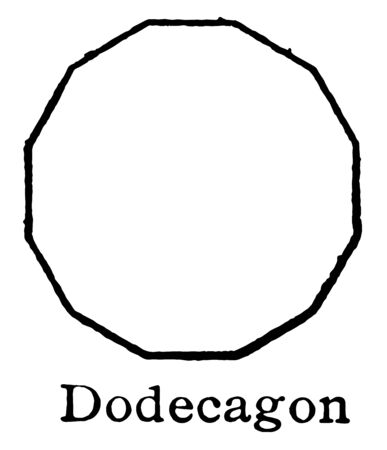 The polygon that shows 10 sides, called it as decagon. A regular decagon of all sides of the composite length and each internal angle is always the same, vintage line drawing or engraving illustration.