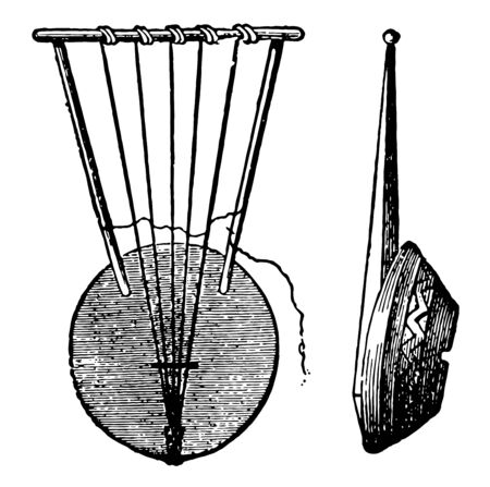 Zither which is an ancient Hebrew Zither, vintage line drawing or engraving illustration.