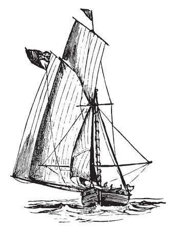 Ringtail Sailboat is a small quadrilateral sail set on a small mast of a ship taffrail, vintage line drawing or engraving illustration.