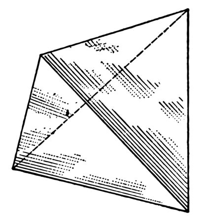 There are four faces with equilateral triangles. It is also known as one of the five regular Platonic solids, known since ancient times, vintage line drawing or engraving illustration. 向量圖像