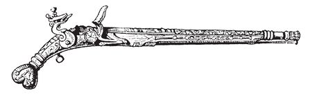 A pistol is a type of small handgun,vintage line drawing or engraving illustration.