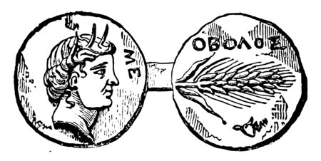 This image shows the small part of ancient Greece. Two sides are connected to each other, vintage line drawing or engraving illustration. Stok Fotoğraf - 133060134