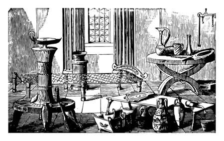 This is the image of the old laboratory. This laboratory is located in Pompeii. There are smaller containers in this lab, vintage line drawing or engraving illustration.