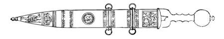 This is the image of Roman Sword. There is a design on the surface of Roman Sword. It is decorated with carvings, vintage line drawing or engraving illustration.