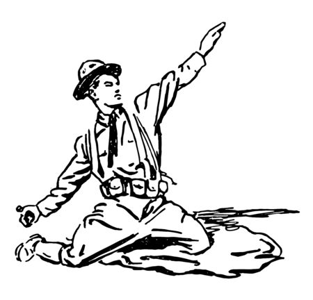 A soldier kneeling down preparing to throw a grenade, vintage line drawing or engraving illustration.