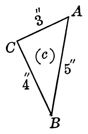 The image shows the right triangle with leg 3 and hypotenuse 5. Triangle ABC has three sides and three angles. its two sides are similar and the third side is smaller than the one called as the base, vintage line drawing or engraving illustration.
