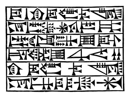 The image shows Babylonian script. It is one of the languages written in a row. Sumerian writing system called cuneiform, vintage line drawing or engraving illustration. Illustration