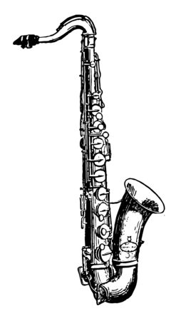 Tenor Saxophone is a medium sized member of the saxophone family, vintage line drawing or engraving illustration.
