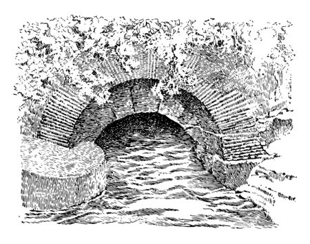 This image shows the One of the oldest sewer systems in the world, located in ancient Rome, vintage line drawing or engraving illustration.
