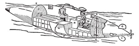 Electric Torpedo Boats are small vessels built for speed and fitted with tubes for firing torpedoes by either compressed air or gunpowder, vintage line drawing or engraving illustration. Illustration