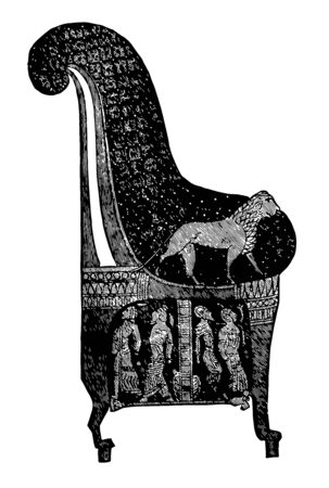 Egyptian Chair had a curve and the feet similar to an animal, vintage line drawing or engraving illustration.