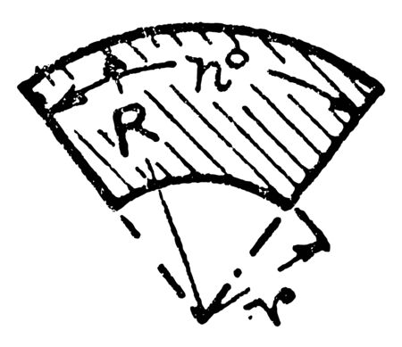 A diagram of a sector of a hollow circle. A sector is the space between an arch and two radii drawn towards the ends of the arch, vintage line drawing or engraving illustration. 일러스트