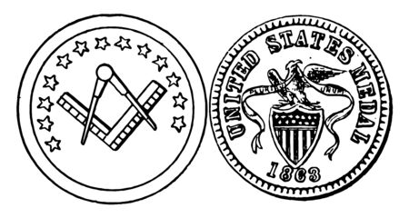 War Token shown in the picture is 1863 years old. Obverse side showed a War token builder square and compass. Reverse side shown a shield and