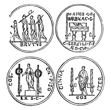 This image shows the collection of four coins. On the surface of the coin there are some towns with different types of weapons and with some alphabetical text, vintage line drawing or engraving illustration.