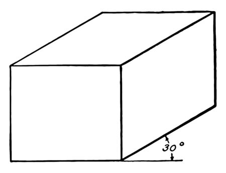 The image shows an oblique view of a rectangular solid  prism at 30 , vintage line drawing or engraving illustration. Illusztráció