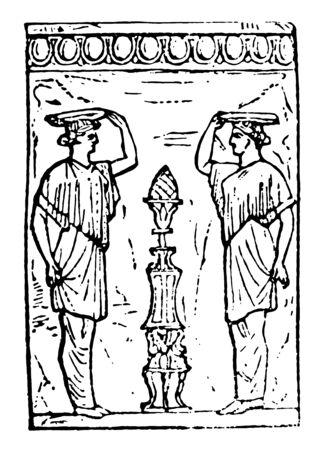 Canephoros are the two appointed virgins , vintage line drawing or engraving illustration.  イラスト・ベクター素材