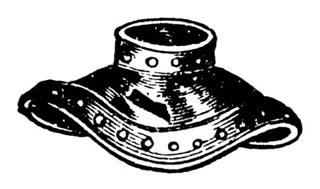 Gorget is an article of clothing that covered the throat, vintage line drawing or engraving illustration.