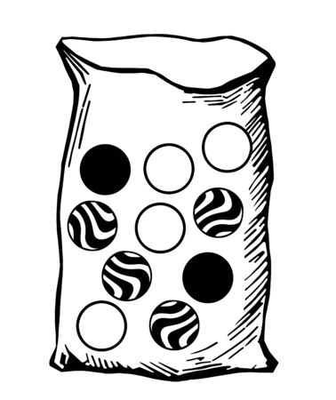 A bag contains ten marbles of the same size: four are identical white marbles; four are identical striped marbles and two black marbles, vintage line drawing or engraving illustration. Ilustrace