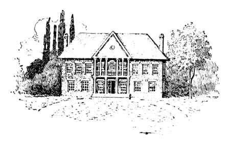 Image showing the historical old capitol building at Williamsburg, Virginia vintage line drawing. 일러스트