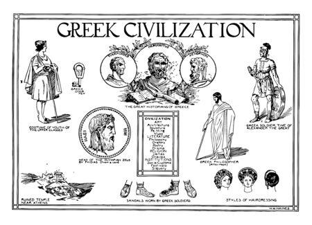 A poster of the Greek Civilization, vintage line drawing or engraving illustration. Çizim