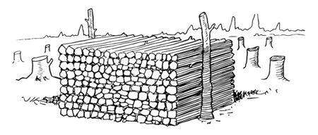 An Illustration of stack of timber, vintage line drawing or engraving illustration. Çizim