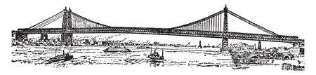 New East River Bridge NY is the largest suspension bridge in the world, vintage line drawing or engraving illustration.