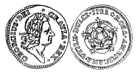 A picture is showing Copper Pence Coin, 1722. It shows the right-facing image of George I with the inscription and reverse image of coin are showing the rose with inscription, vintage line drawing or engraving illustration.
