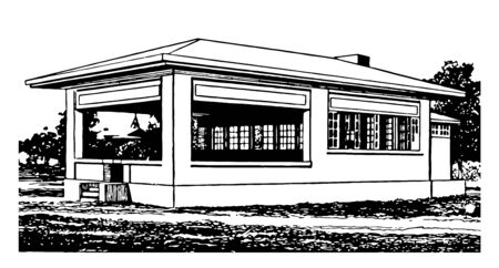 Open air school rooms in California are  inclosed rooms from inside vintage line drawing.