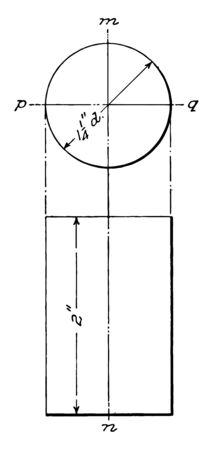 The image shows the projection of the cylinder. It is a graphic layout of projections to build a cylinder from the base circle of the cylinder, vintage line drawing or engraving illustration.