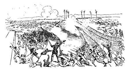 La batalla del gran río negro se libró en 1863, durante el dibujo de línea vintage de la guerra civil estadounidense.