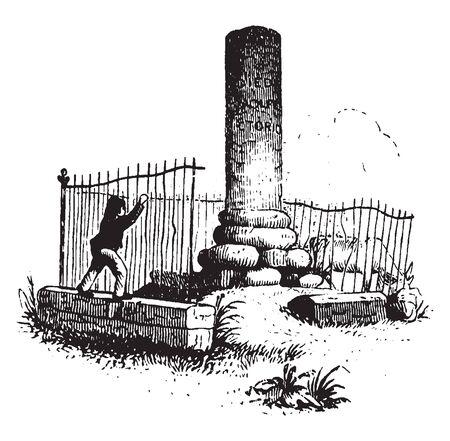 Monument of General James Wolfe,vintage line drawing or engraving illustration
