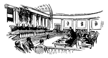Highest federal court of United state composed of a chief justice and eight justices vintage line drawing.