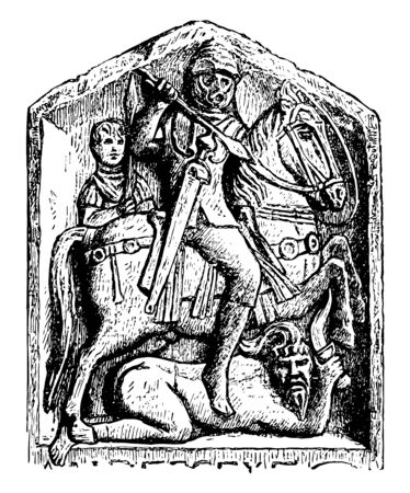 In this image, a Roman rider who fought against a Sueve. Suevi were Germanic people who represented a threat to the Romans, vintage line drawing or engraving illustration.