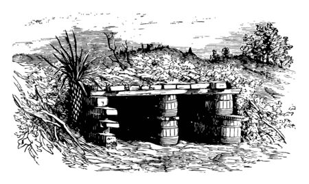 This image represents Bomb and Splinter Proof of Fort Wagner, vintage line drawing or engraving illustration.