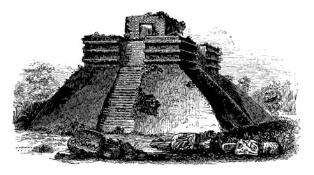 Teocalli is a mesoamerican pyramid having terrace on the top and many rituals are occurred at the top of terrace vintage line drawing. Stock Illustratie