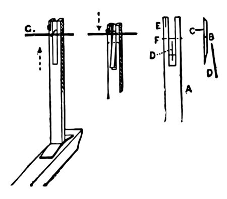 This image represents Interior mechanism of a spinet, vintage line drawing or engraving illustration.
