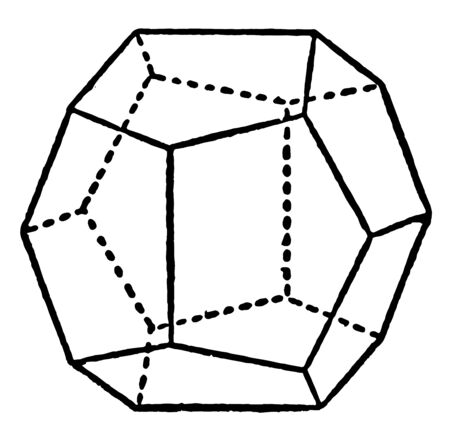 Figure with polyhedrons with equilateral pentagons as faces. Twelve regular pentagons combine to form regular solids, vintage line drawing or engraving illustration. Ilustrace