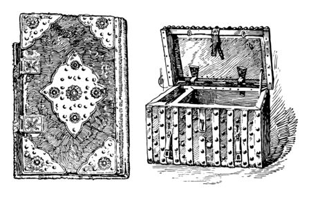 The image shows a box and a book, as well as a box made of sturdy nails. The book is very thick and old, vintage line drawing or engraving illustration.