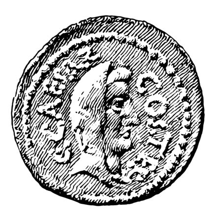 A coin designed with Cesars bust, vintage line drawing or engraving illustration.