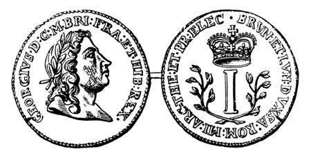 A picture is showing Copper Pence Coin, No Date. This is the currency of the Rosa Americana series. Obverse part shows image of George I and other part show the letter I between the branches, vintage line drawing or engraving illustration.